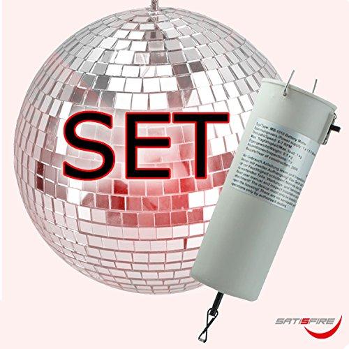 Spiegelkugel Set 20cm, Batteriemotor – Qualitäts Discokugel 10x10mm Spiegel + Motor