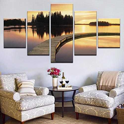 5 piezas colocadas en un puente sobre el río, el sol brilla intensamente, el póster Golden Sunshine La pintura de paisajes se dibuja en el lienzo 30 * 40 * 2 30 * 60 * 2 30 * 80 cm SIN marco WHOOPS