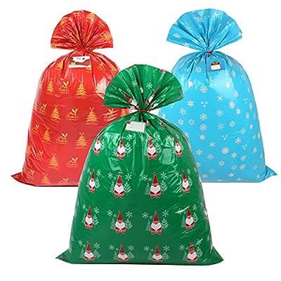 """Amazon - Save 50%: BEBEKULA 6pcs 47″X 36""""Christmas Bags Large Plastic Christmas Bags wit…"""