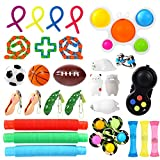 GOHEYI Sensory Fidget Toy Set Box 28 Pack, Push Popper Bubble Fidget Toys with Fidget Spinner, Pop Tubes, Stress Ball, Wacky Track, Party Favors Fidget Pack, Stress Anxiety Relief for Kids ADHA Autism