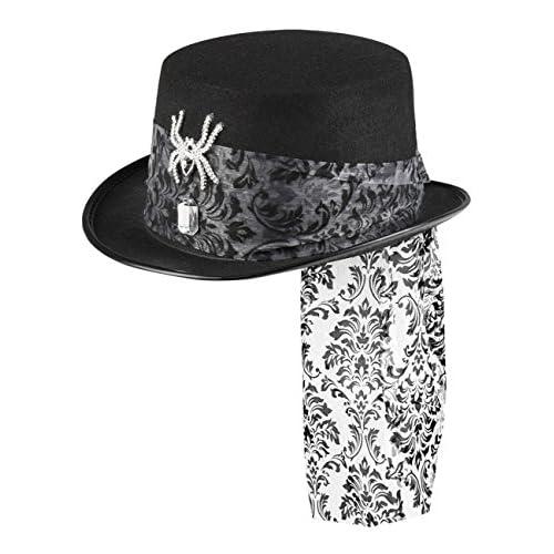 Cappello cilindro ragno glitter , nero