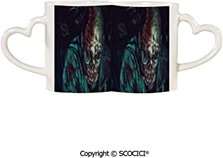 UHOO Coffee Mugs Set of 2 - Man Shot in the with Bloody Details Fearful Vampire Fantasy Print Ceramic Coffee Mugs - Bride and Groom Mug Set Honeymoon Anniversary Gift | 11.6 oz