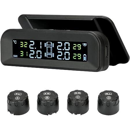 Jansite TPMS Système de surveillance de la pression des pneus à énergie solaire 22-87 psi sur pare-brise avec 4 capteurs de voiture en temps réel Système d'alarme automatique sans fil