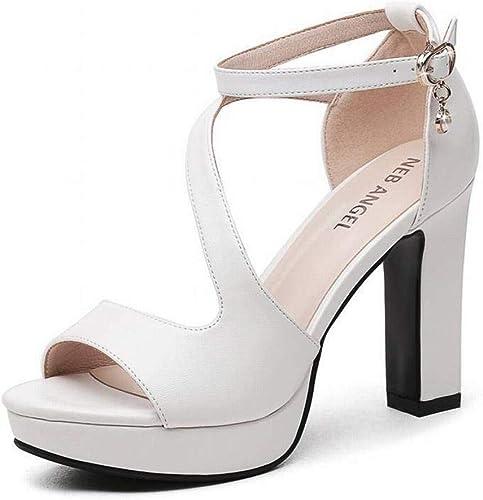 TFTORY Escarpins Romains à Talons épais, Chaussures D'été pour Femmes, Chaussures à Talons Hauts, blanc, 38