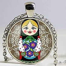Émail Alliage mignon Matriochka Russe Collier Pendentif Bijoux Pour Femmes Enfant Cadeau