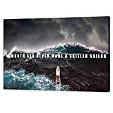 Yatsen Bridge Motivational Wall Art Inspirational Quotes Pictures Inspire Canvas Painting Sailing Ship Storm Posters Prints Artwork Home Decor for Office Framed Ready to Hang(36''W x 24''H)
