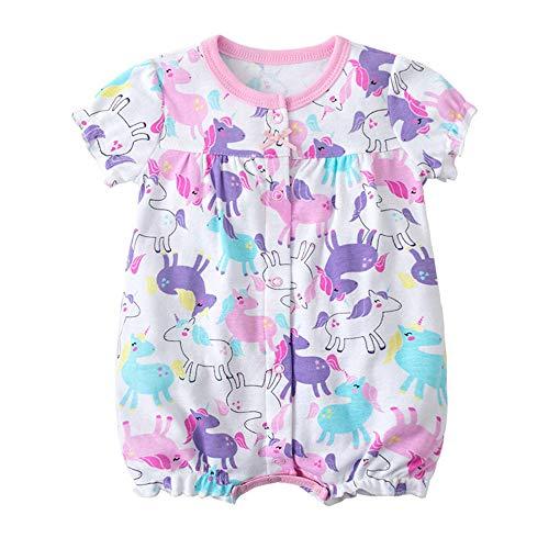 Treer Strampler Baby Mädchen, Spielanzug 100% Baumwolle Sommer Babybody Baby Kurzarm-Body für Neugeborene Weich Short-Sleeve Bodysuits Gänseblümchen drucken (24M,Einhorn)