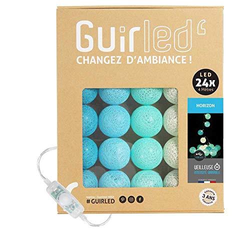 LED Baumwollkugeln Lichterkette USB - Baby Nachtlicht 2h - Dual USB 2A Netzteil enthalten - 3 Intensitäten - 24 Kugeln 4m - Horizon