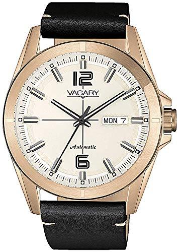 Vagary Uhren gehuse Stahl Farbe rosgold, lederarmband automatco IX3-025-10