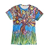 AHOMY Camiseta de manga corta para mujer, diseño de árbol de la vida, estrellas con corazón y cuello redondo, manga...