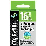 Genuine Innovations Cartridge Grams Pieces (Pack Box) G2153, Cartuchos Bicicletas, de Rosca, g, Paquete de 6Unidades, Innovations CO2 Gewindepatrone 16 gram Threaded Co2 (6), 2153, (6 Pack)