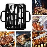 WOTOW 9 Piezas de Acero Inoxidable BBQ Tools con Funda de Almacenamiento de Delantal - Premium Heavy Duty Professional Grill Set - Espátula, Pinzas, bifurcación, Delantal Accesorios de Barbacoa