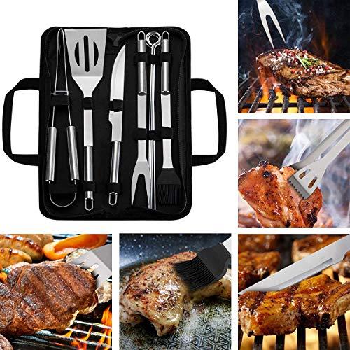 WOTOW Grillbesteck Set, 9 Stück Edelstahl Grillset Grillzubehör Utensilien BBQ Kit mit Aufbewahrungstasche Männer Frauen Outdoor Familie Camping Party