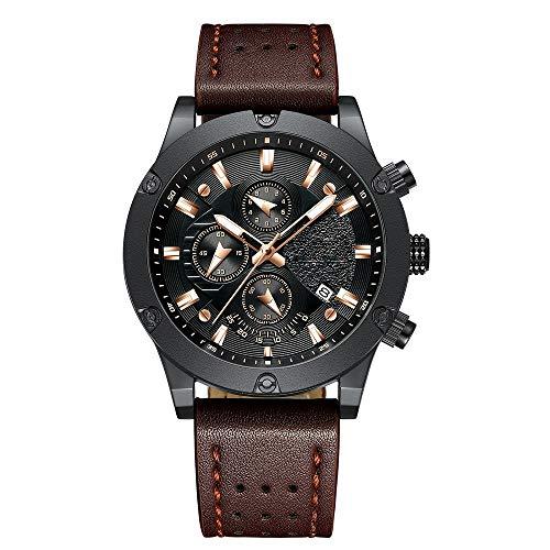 Voigoo Mode-Uhr-Männer der neuen Entwurf Chronograph große Gesichts-Quarz-Armbanduhr Herren Outdoor Sport Leder Uhren orologio Uomo