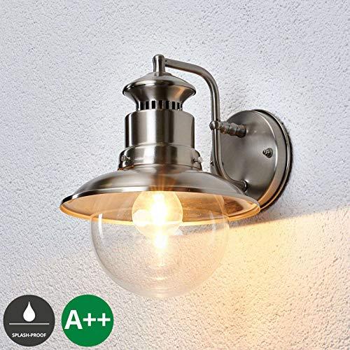 Lindby Wandleuchte außen (Laterne) 'Gwendolyn' (spritzwassergeschützt) (Modern) in Alu aus Edelstahl (1 flammig, E27, A++) – Außenwandleuchten, Wandlampe, Außenlampe, Wandlampe für Outdoor & Garten
