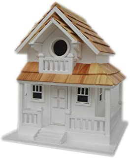 Home Bazaar Hand-made Backyard Bird Cottage White Bird House - Bird Friendly - Home Decor
