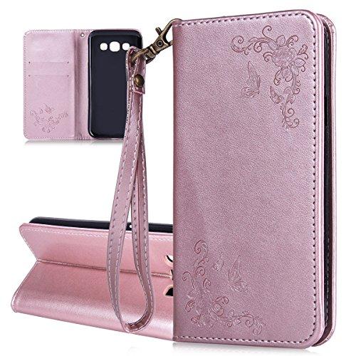 ISAKEN Compatibile con Samsung Galaxy A3 2015 Custodia - Libro Flip Case Portafoglio Wallet Cover in PU Pelle Tinta Unita Custodia Embossed Rose Caso con Supporto di Stand/Carte Slot, Rose Gold
