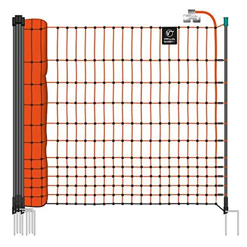 VOSS.farming Premium Hühnernetz farmNET 25m 112cm Orange 2 Spitzen 9 Pfähle Hühnerzaun Elektronetz