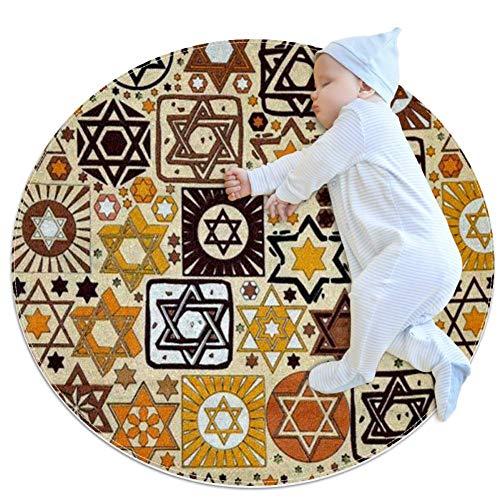 Felpudo Judío de CHINFY, redondo, lavable, antideslizante, para sala de estar, cocina, dormitorio, decoración del hogar, 2.62 '