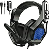Mpow 7.1 Gaming Headse for PS4, PC, Xbox One,Over-Ear 7.1 Surround Sound Headphones with Mic Noise Cancelling, Over 16 Million Choice of RGB LED,USB Gaming Headset & Compatible with 3.5mm Jack(Iron