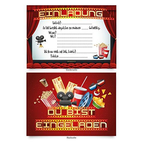 """Einladungskarten (8 Stück) zum Selbstausfüllen für Kindergeburtstag - """"Kino Film"""""""