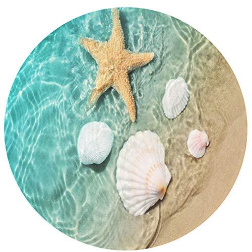 KiuLoam Sea Beach Starfish Seashell Non-Slip Round Area Rugs Kitchen Floor Mat Soft Floor Carpet for Chair Living Room Bedroom, 2-Ft Diameter