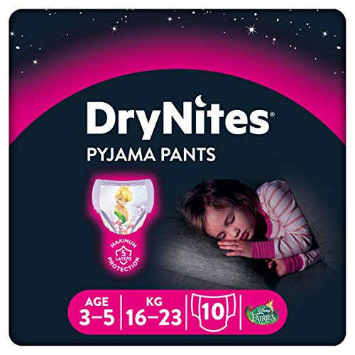 DryNites Mutandine Assorbenti per la Notte da Bambina, 16-23 kg, Confezione da 10 Mutandine