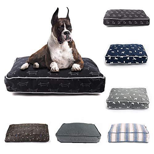 Cama para perros y mascotas, banco para perros pequeños, medianos y grandes, cama para cachorros, colchoneta para perros, tumbona, sofá para mascotas (color: negro-py0108, tamaño: L 70 x 50 x 12 cm)
