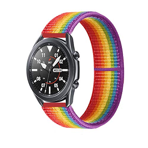 LRJBFC 20 22mm Watch Band for Gear S3 Frontier Strap Galaxy Watch 3 45mm 41mm 46 Active 2 44mm 40mm Nylon para Huawei Watch GT2E / 2 Strap 42 (Band Color : Rainbow 39, Band Width : 22mm)