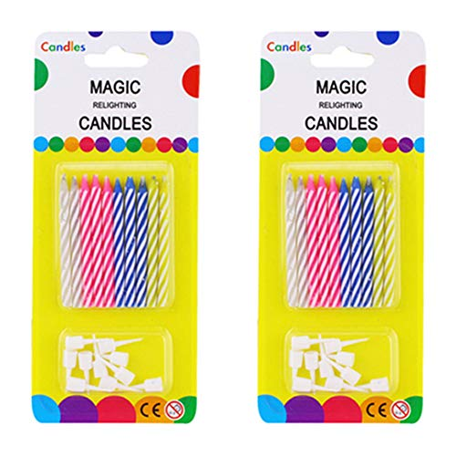 Wendy Cai 20PCS Magic Trick Relighting Candles Kids Brthday Cake Candle Party Novelty Joke Cake Decors Xmas Gift (Color Random)
