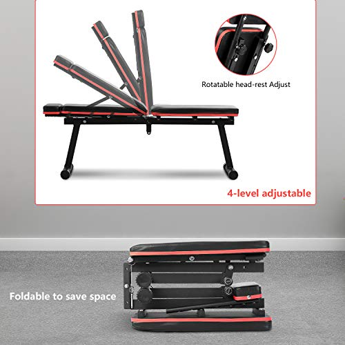 Adjustable Weight Bench - Wesfital Workout Bench Strength Training Bench Foldable Weight Bench Incline Bench Exercise Bench For Home Gym