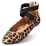 Womans Ballet Flats Shoes Straps Shoes Ballet Ankle Strap Elastic Stylish Ultra Comfort Arch Support Feet Helps Posture Flats Round Toe Slip-on Camel,Leopard,sv,6