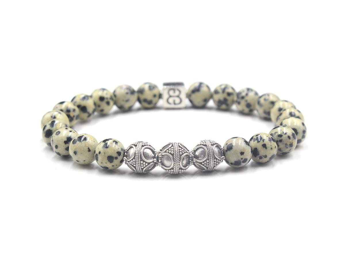 Men's Sale item Dalmatian Stone Limited time cheap sale and Br Sterling Silver Bracelet