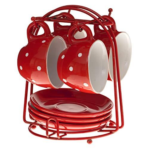 SECRET DE GOURMET Set aus 4 Tassen Unterteller mit Ständer, Farbe:Rot