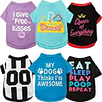 6 Pieces Breathable Printed T-Shirts for Dogs (Medium)