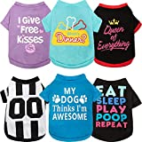 6 Pieces Pet Breathable Shirts Letter Printed Puppy Apparel Christmas Dog Vest Halloween Dog Clothing Dog Apparel Dog Soft T-Shirt for Pet Dogs (S)