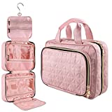 UHNDY Toiletry Bag, Hanging Travel Makeup Bag for Women, Stylish Foldable Cosmetic Organizer with 6 Sections, for Accessories and Toiletries, Large Capacity, Suitable for Traveling and Home Use, Pink