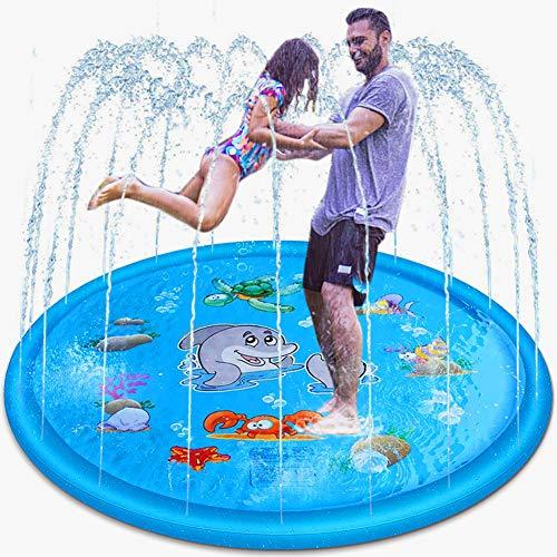 GEYUEYA Home Splash Pad, 170CM Kinder Sprinkler Spiel Matte Pool Play Pad Sommer Wasserspielzeug für Pool, Partys, Garten, Strände, Rasenflächen