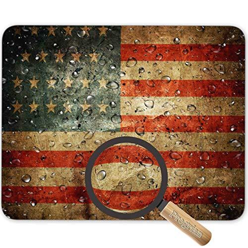 Wassertropfen auf Vintage Retro US American Flag Foto Hintergrund Mauspad, HD helle Farben Gaming Mauspad Custom Design Mat