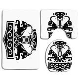 Marteau de Thor avec deux chèvres tirant le char dans la mythologie nordique Mystic 3pcs ensemble de tapis de salle de bain, housse de siège de toilette absorbant antidérapant housse de couvercle de t