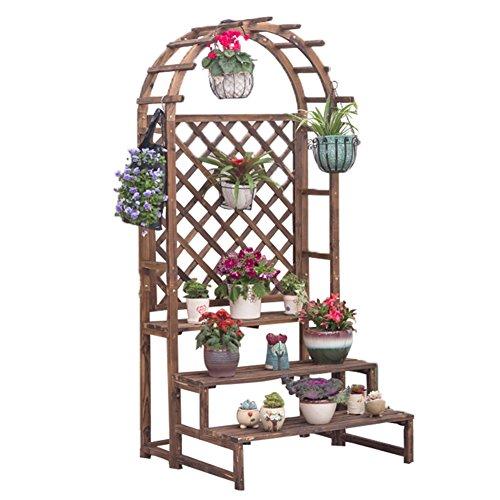 WSSF- Balcon en bois fleur rack solide bois suspendus multicouches fleur Pots étagère salon d'intérieur anti-corrosif Pin bois fleur Stand-debout meuble présentoir, 90 * 86 * 198cm