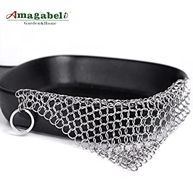 Amagabeli 8 x6  Stainless Steel 316L Cast Iron Cleaner Chainmail Scrubber for Cast Iron Pan Pre-Seasoned Pan Dutch Ovens Waffle Iron Pans Scraper Cast Iron Grill Scraper Skillet Scraper
