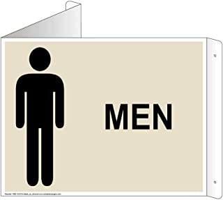 Men Restroom Wall Sign, Triangle Projection-Mount, 13x10 inch Almond Aluminum for Public Bathrooms by ComplianceSigns