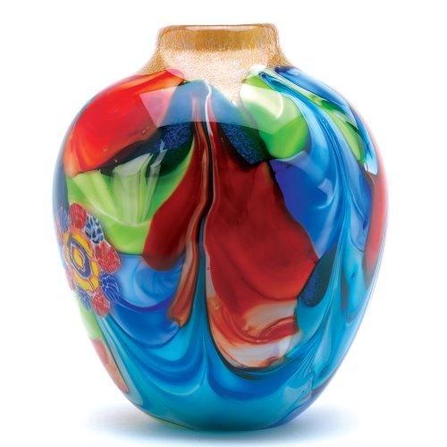 Accent Plus Floral Fantasia Art Glass Vase 8x8x9