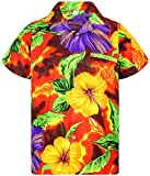 V.H.O. Funky Camisa Hawaiana, BigFlower, Orange, M