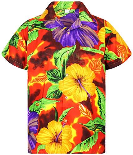 V.H.O. Funky Camisa Hawaiana, BigFlower, Orange, M