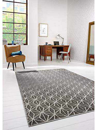 benuta Teppich Diamond Grau 80x150 cm | Moderner Teppich für Wohn- und Schlafzimmer