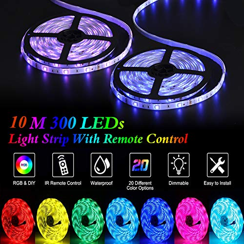 LED Strip Lights, YORMICK 32.8 feet Waterproof Flexible Tape Lights Color Changing 5050 RGB 300 LEDs Light Strips Kit with 44 Keys IR Remote Controller and 12V Power Adaptor for Home, Bedroom, Kitchen 3
