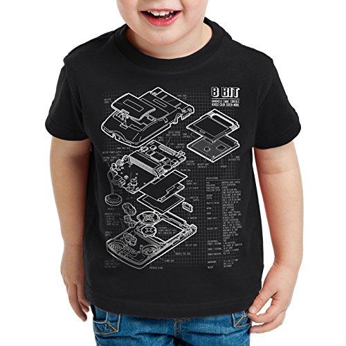 style3 8 bit Videoconsola Portátil Cianotipo Camiseta para Niños T-Shirt, Color:Nero;Talla:164