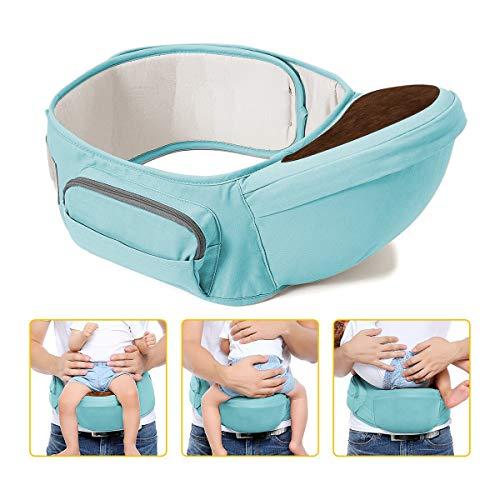Wemk Hipseat Marsupio, Neonati Marsupio Sicurezza Supporto, La cintura è regolabile per una lunghezza massima di 49.2', Puro cotone Leggero e Traspirante, Bambino da 0-36 Mesi(3 a 20 Kg), Verde